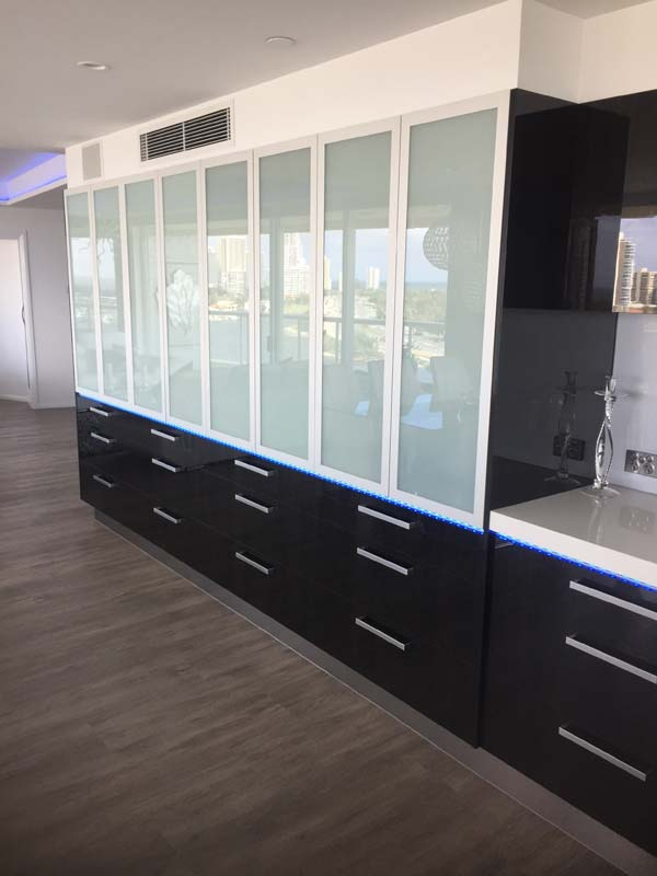 Large wall unit with glass doors